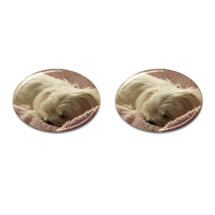Maltese Sleeping Cufflinks (Oval)