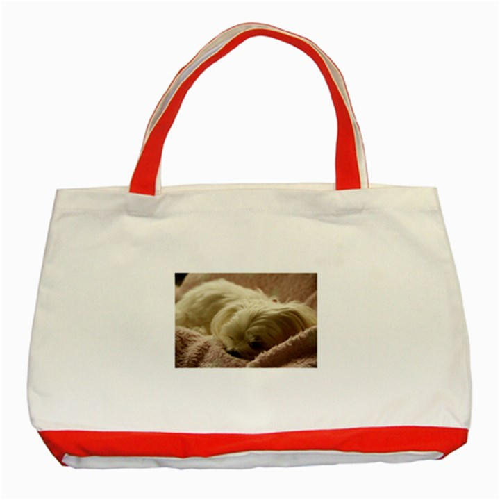 Maltese Sleeping Classic Tote Bag (Red)