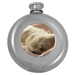 Maltese Sleeping Round Hip Flask (5 oz) Front