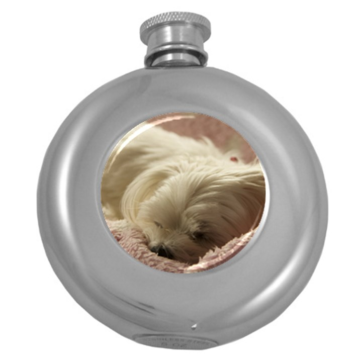 Maltese Sleeping Round Hip Flask (5 oz)