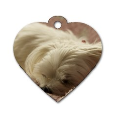 Maltese Sleeping Dog Tag Heart (Two Sides)