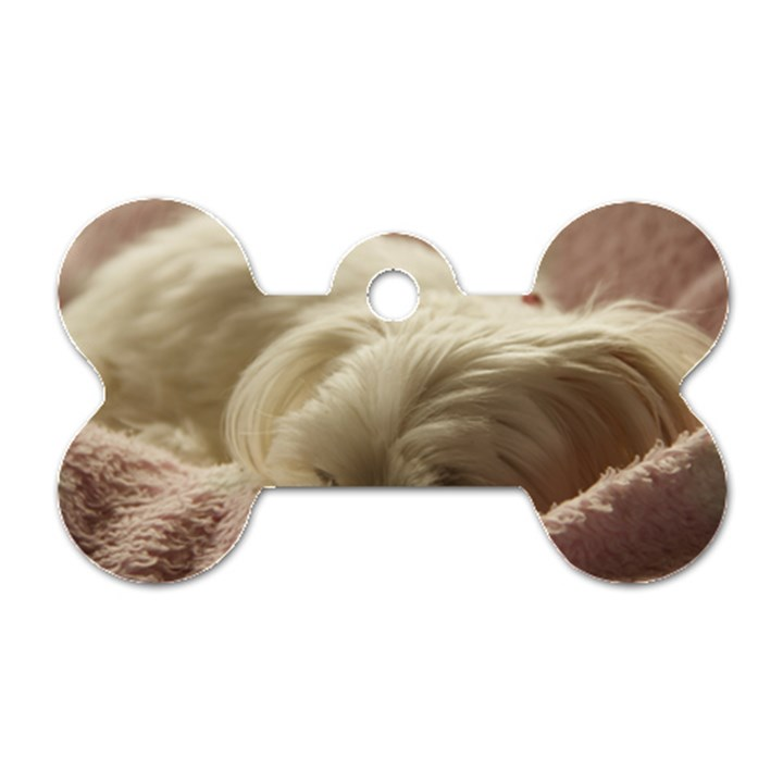 Maltese Sleeping Dog Tag Bone (One Side)