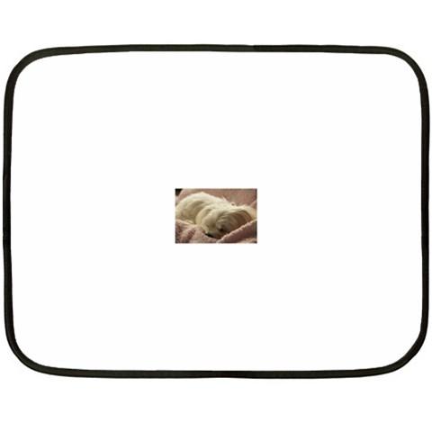 Maltese Sleeping Double Sided Fleece Blanket (Mini)
