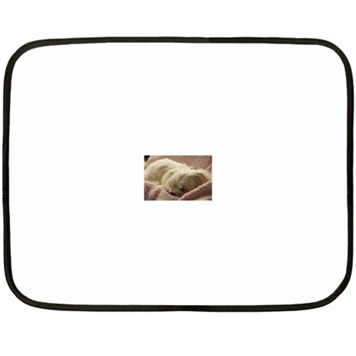 Maltese Sleeping Double Sided Fleece Blanket (Mini)