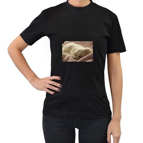 Maltese Sleeping Women s T-Shirt (Black)