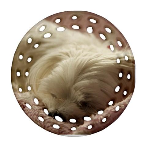 Maltese Sleeping Ornament (Round Filigree)