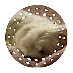 Maltese Sleeping Round Filigree Ornament (2Side)
