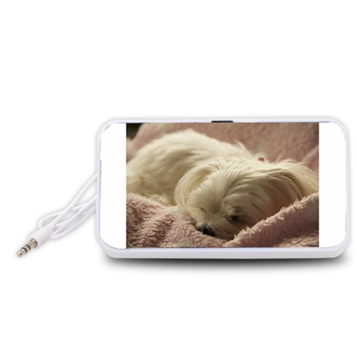 Maltese Sleeping Portable Speaker (White)