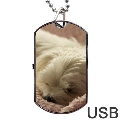 Maltese Sleeping Dog Tag USB Flash (One Side)