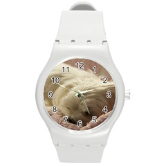Maltese Sleeping Round Plastic Sport Watch (M)