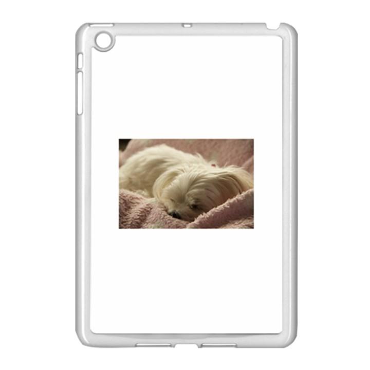 Maltese Sleeping Apple iPad Mini Case (White)