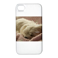Maltese Sleeping Apple iPhone 4/4S Hardshell Case with Stand