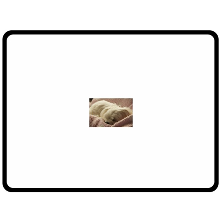 Maltese Sleeping Double Sided Fleece Blanket (Large)