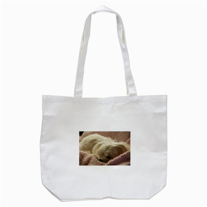 Maltese Sleeping Tote Bag (White)