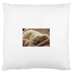 Maltese Sleeping Large Flano Cushion Case (Two Sides)