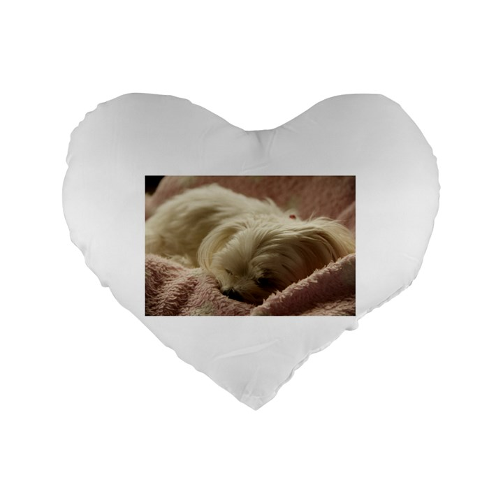 Maltese Sleeping Standard 16  Premium Flano Heart Shape Cushions