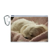 Maltese Sleeping Canvas Cosmetic Bag (M)