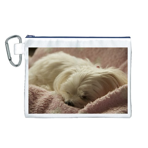 Maltese Sleeping Canvas Cosmetic Bag (L)