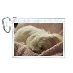 Maltese Sleeping Canvas Cosmetic Bag (L) Front