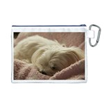 Maltese Sleeping Canvas Cosmetic Bag (L) Back