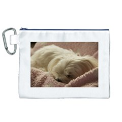 Maltese Sleeping Canvas Cosmetic Bag (XL)