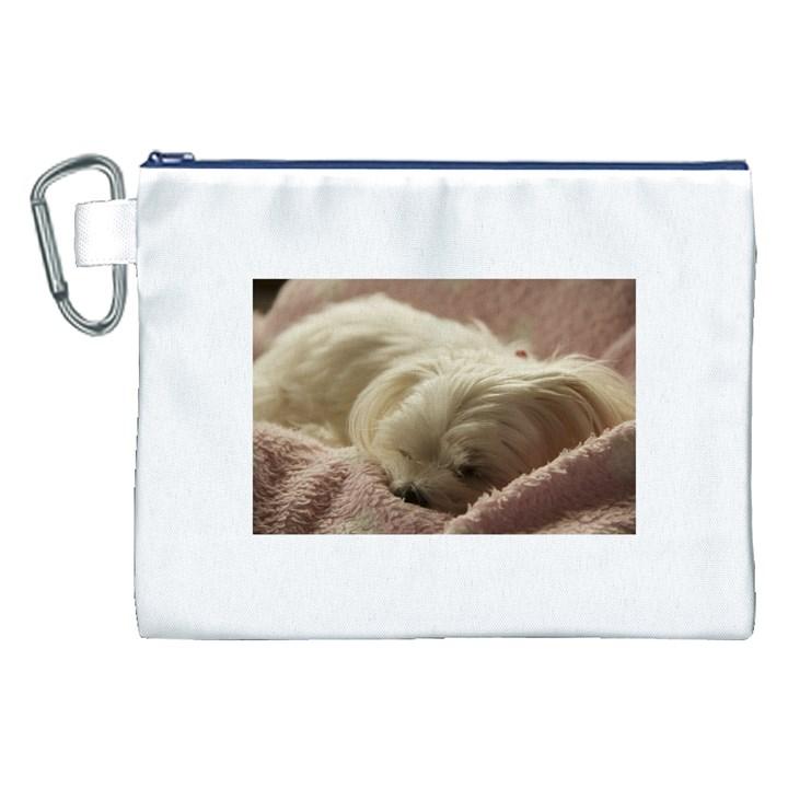 Maltese Sleeping Canvas Cosmetic Bag (XXL)