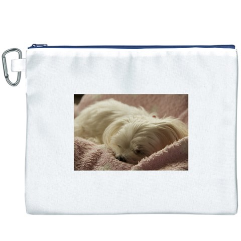 Maltese Sleeping Canvas Cosmetic Bag (XXXL)