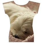 Maltese Sleeping Women s V-Neck Cap Sleeve Top Back