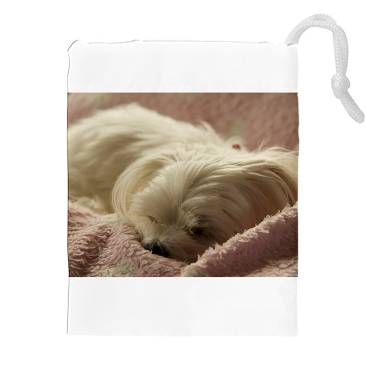 Maltese Sleeping Drawstring Pouches (XXL)
