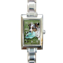 Blue Merle Miniature American Shepherd Love W Pic Rectangle Italian Charm Watch