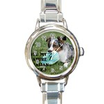 Blue Merle Miniature American Shepherd Love W Pic Round Italian Charm Watch Front