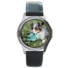 Blue Merle Miniature American Shepherd Love W Pic Round Metal Watch