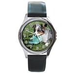 Blue Merle Miniature American Shepherd Love W Pic Round Metal Watch Front