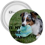 Blue Merle Miniature American Shepherd Love W Pic 3  Buttons Front