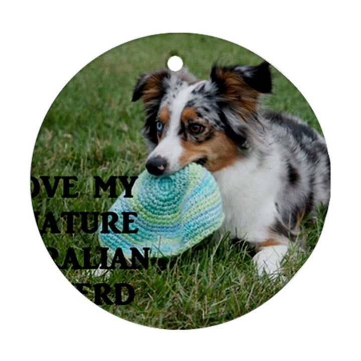 Blue Merle Miniature American Shepherd Love W Pic Ornament (Round)