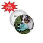 Blue Merle Miniature American Shepherd Love W Pic 1.75  Buttons (10 pack) Front