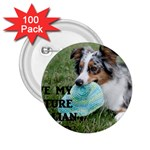 Blue Merle Miniature American Shepherd Love W Pic 2.25  Buttons (100 pack)  Front