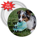 Blue Merle Miniature American Shepherd Love W Pic 3  Buttons (100 pack)  Front