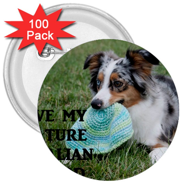 Blue Merle Miniature American Shepherd Love W Pic 3  Buttons (100 pack)