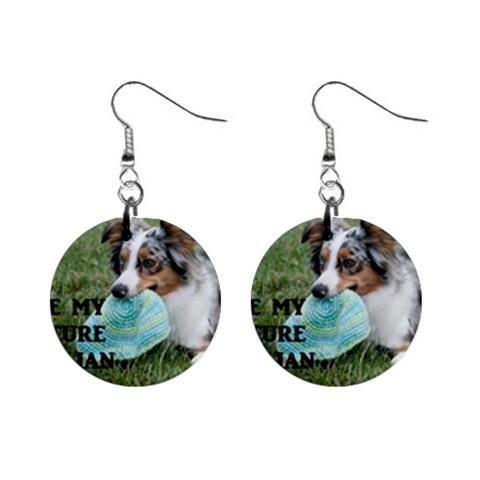 Blue Merle Miniature American Shepherd Love W Pic Mini Button Earrings