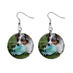 Blue Merle Miniature American Shepherd Love W Pic Mini Button Earrings Front