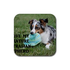 Blue Merle Miniature American Shepherd Love W Pic Rubber Square Coaster (4 pack)