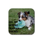Blue Merle Miniature American Shepherd Love W Pic Rubber Square Coaster (4 pack)  Front