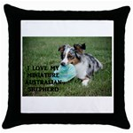 Blue Merle Miniature American Shepherd Love W Pic Throw Pillow Case (Black) Front