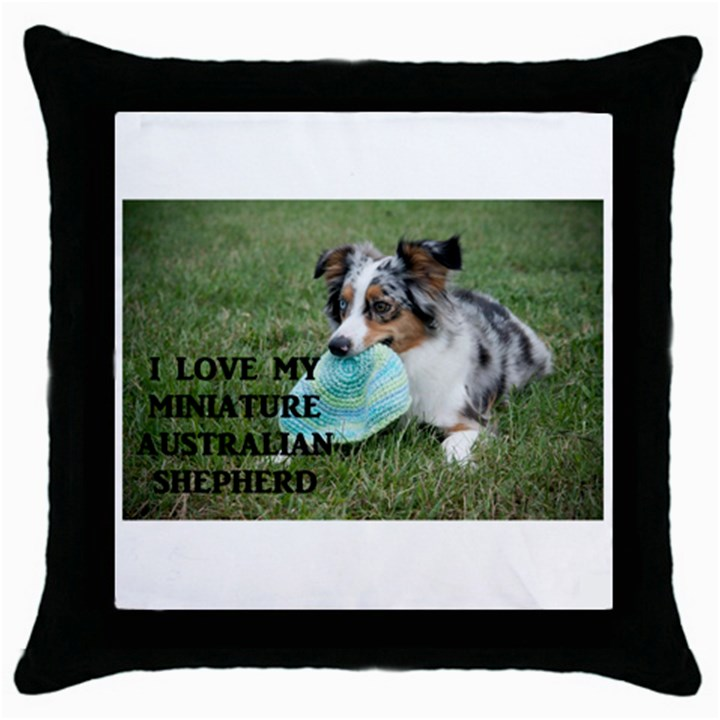 Blue Merle Miniature American Shepherd Love W Pic Throw Pillow Case (Black)