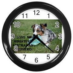 Blue Merle Miniature American Shepherd Love W Pic Wall Clocks (Black)