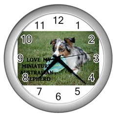Blue Merle Miniature American Shepherd Love W Pic Wall Clocks (Silver)