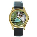 Blue Merle Miniature American Shepherd Love W Pic Round Gold Metal Watch Front