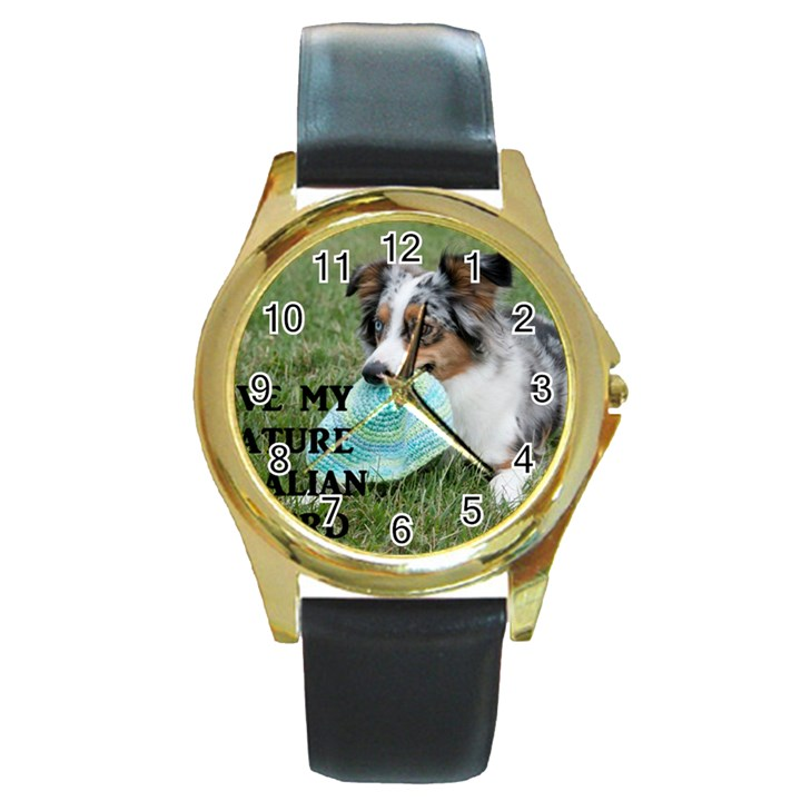 Blue Merle Miniature American Shepherd Love W Pic Round Gold Metal Watch