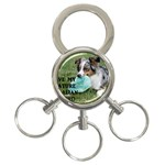 Blue Merle Miniature American Shepherd Love W Pic 3-Ring Key Chains Front